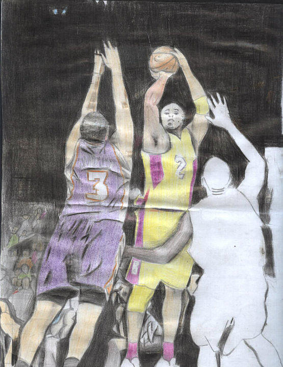 Three Basketball Players Fighting For The Ball. Drawing - Basket Ball by Daniel Kabugu