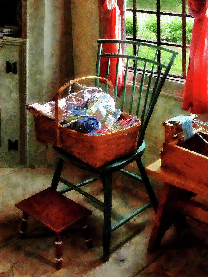 Basket Photograph - Basket Of Cloth And Yarn On Chair by Susan Savad