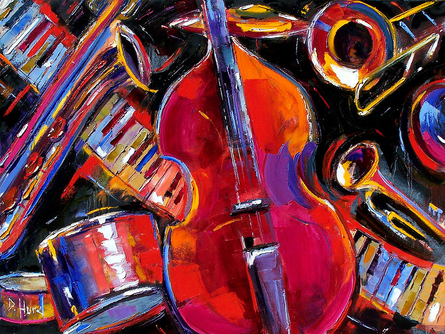 Jazz Painting - Bass And Friends by Debra Hurd