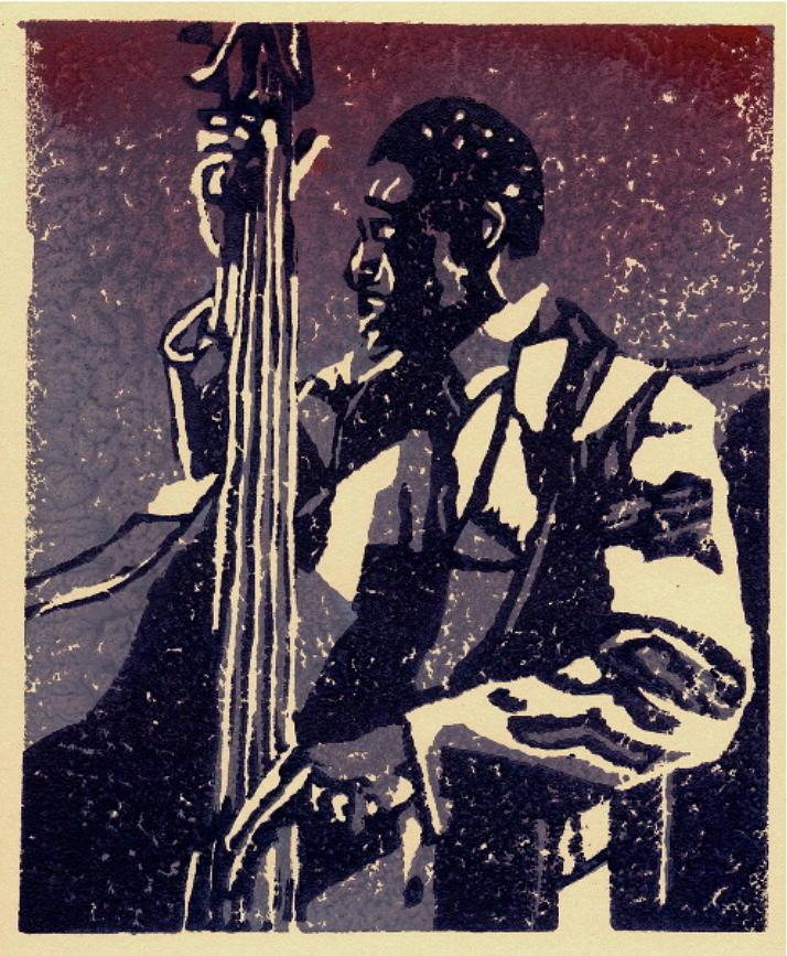 Linocut Relief - Bass by John Brisson