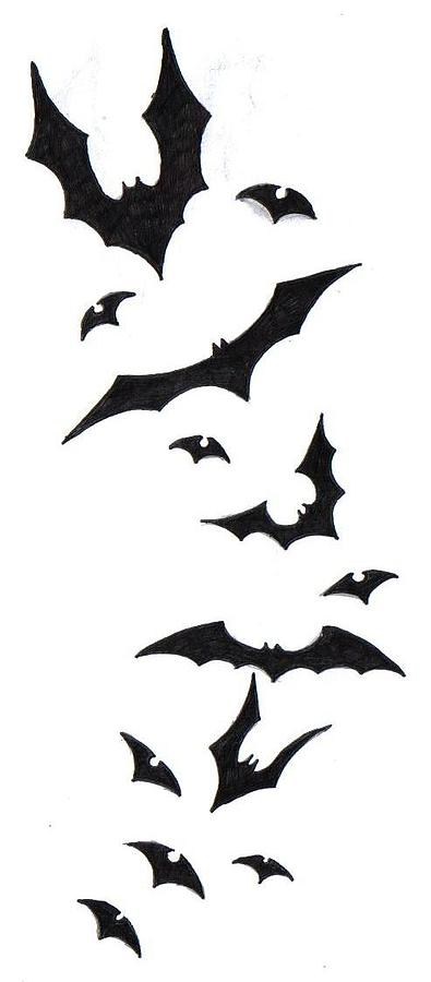 Bats Ink Tattoo Design Drawing - Bat Tattoo Design by Ninja Spirit