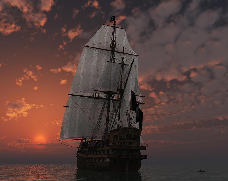 Pirate Ship Salis Ancient Vessels Sea Sunset Mixed Media - Bateau De Pirate by Steven Palmer