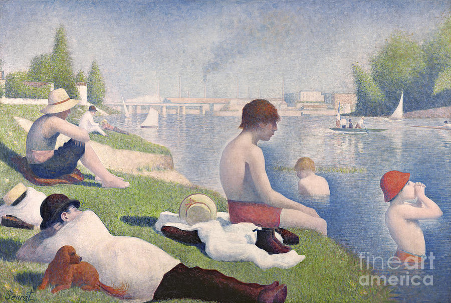 Pointillist; Swimming; Neo Impressionist; Bank; Seine; River; Dog; Puppy;l Ying; Baignade; Crt; Dgt; Golden Section Painting - Bathers At Asnieres by Georges Pierre Seurat
