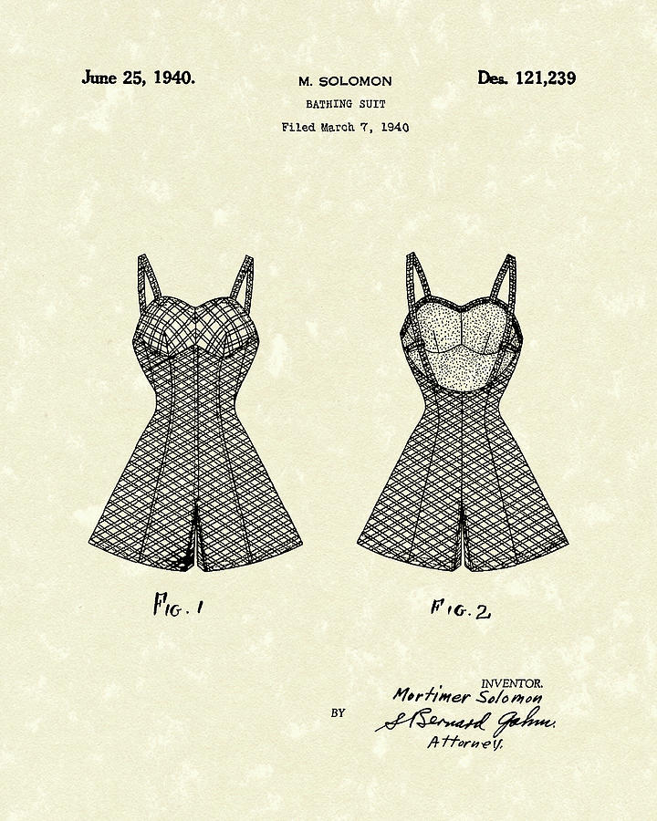 Bathing Suit 1940 Patent Art Drawing
