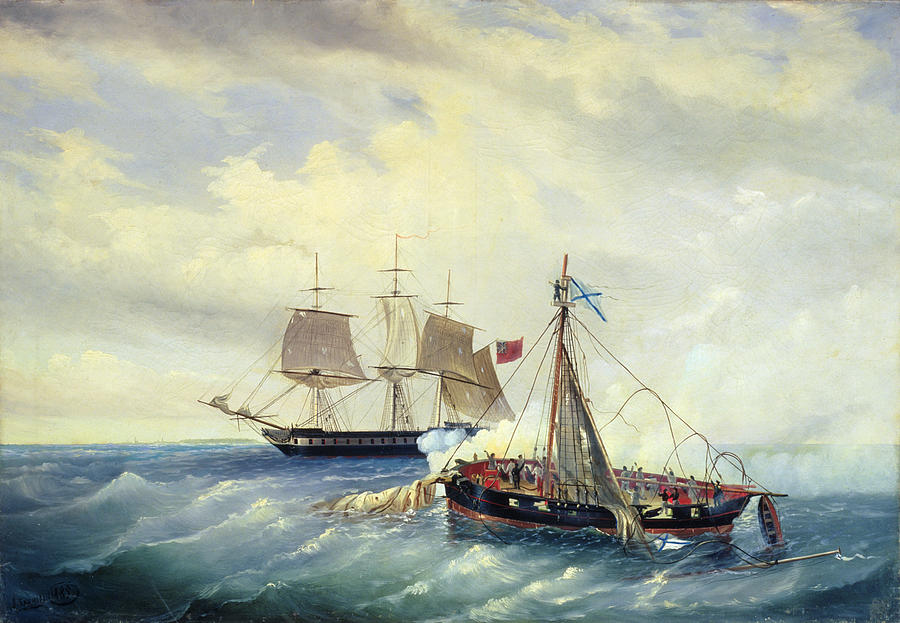 Battle Painting - Battle Between The Russian Ship Opyt And A British Frigate Off The Coast Of Nargen Island  by Leonid Demyanovich Blinov