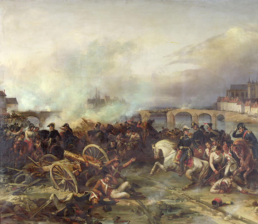 Battle Painting - Battle Of Montereau by Jean Charles Langlois