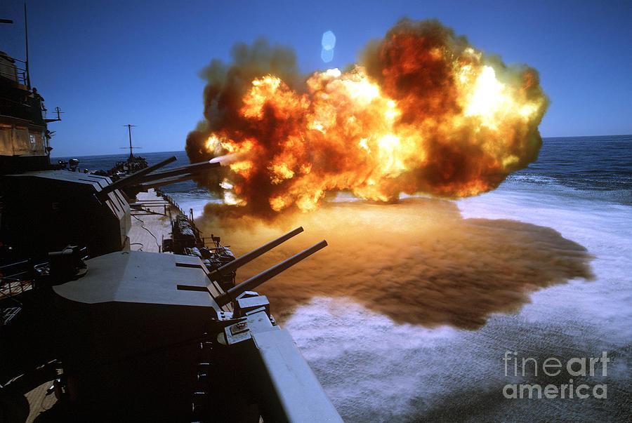 Horizontal Photograph - Battleship Uss Missouri Fires One by Stocktrek Images