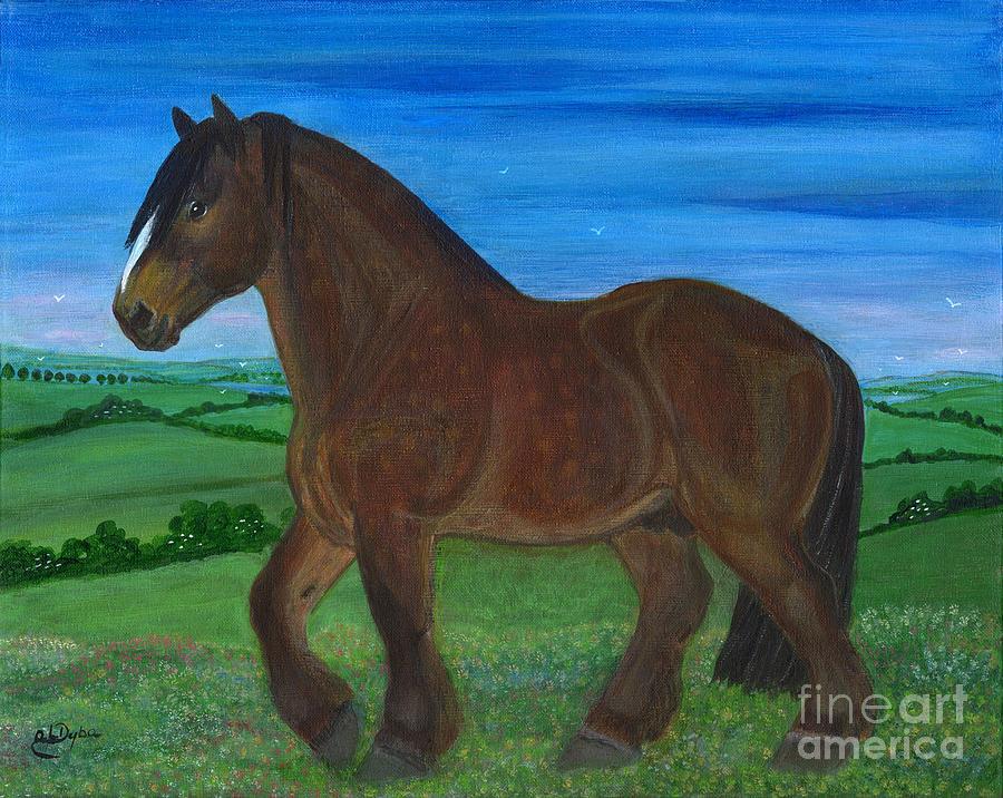 Folkartanna Painting - Bay Horse by Anna Folkartanna Maciejewska-Dyba