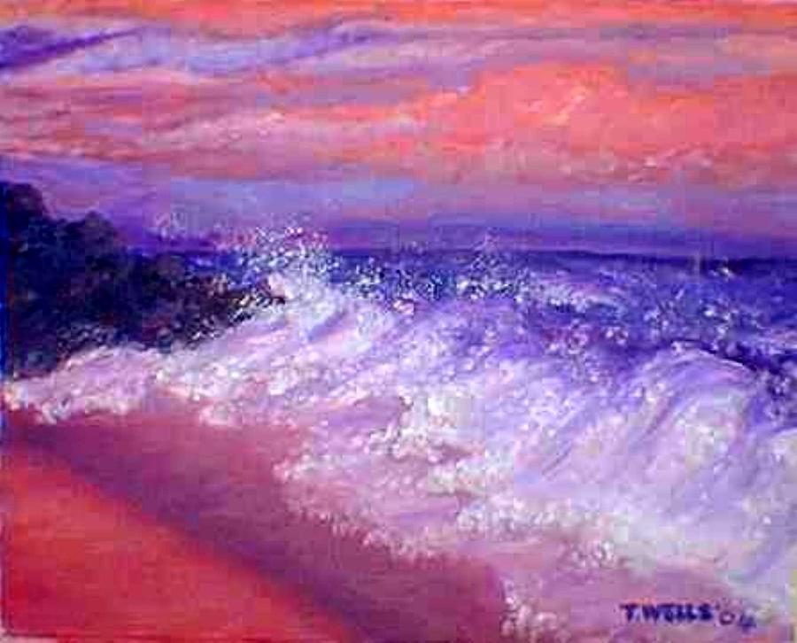 Beach Painting - Beach At Sunrise by Tanna Lee M Wells