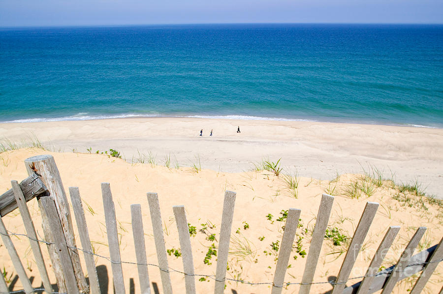 Beach Fence Photograph - beach fence and ocean Cape Cod by Matt Suess