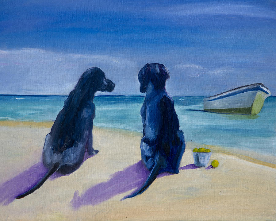 Labradors Painting - Beach Girls by Roger Wedegis