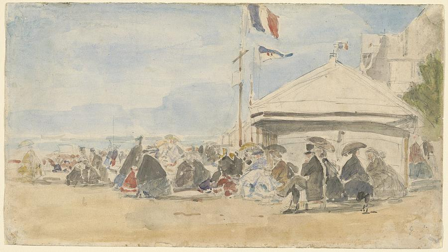 Beach house with flags at trouville drawing by eugene boudin for Beach house drawing