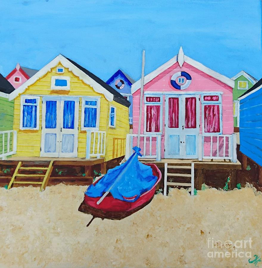 Beach huts aussie style painting by tina karen for Beach hut style