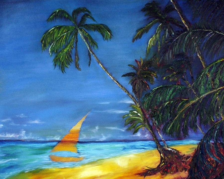 Hawaiian Tropic Painting - Beach Palm Sailboat by Gregory Allen Page