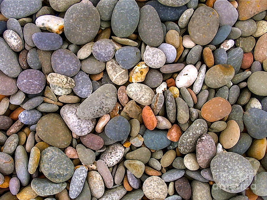 Digital Painting Photograph - Beach Stones And Pebbles by Sophie De Roumanie