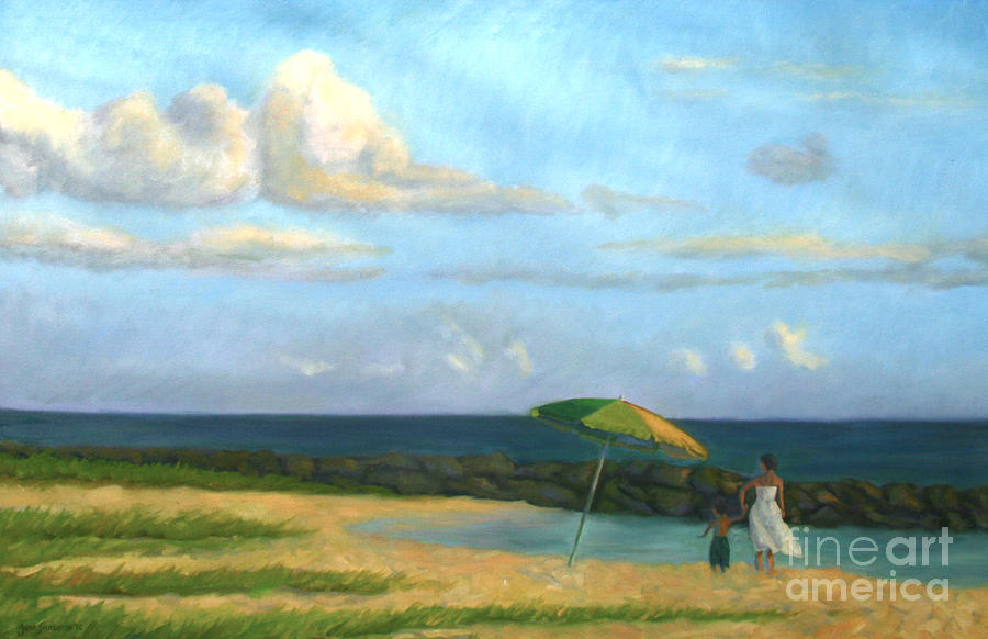 Landscape Painting - Beach Umbrella by Jane  Simonson