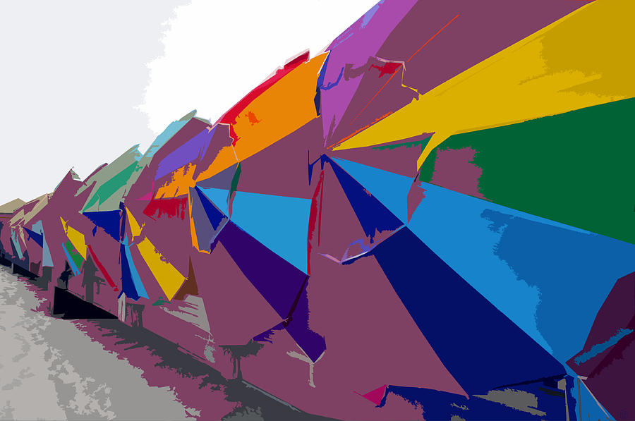 Beach Umbrellas Painting - Beach Umbrella Row by David Lee Thompson