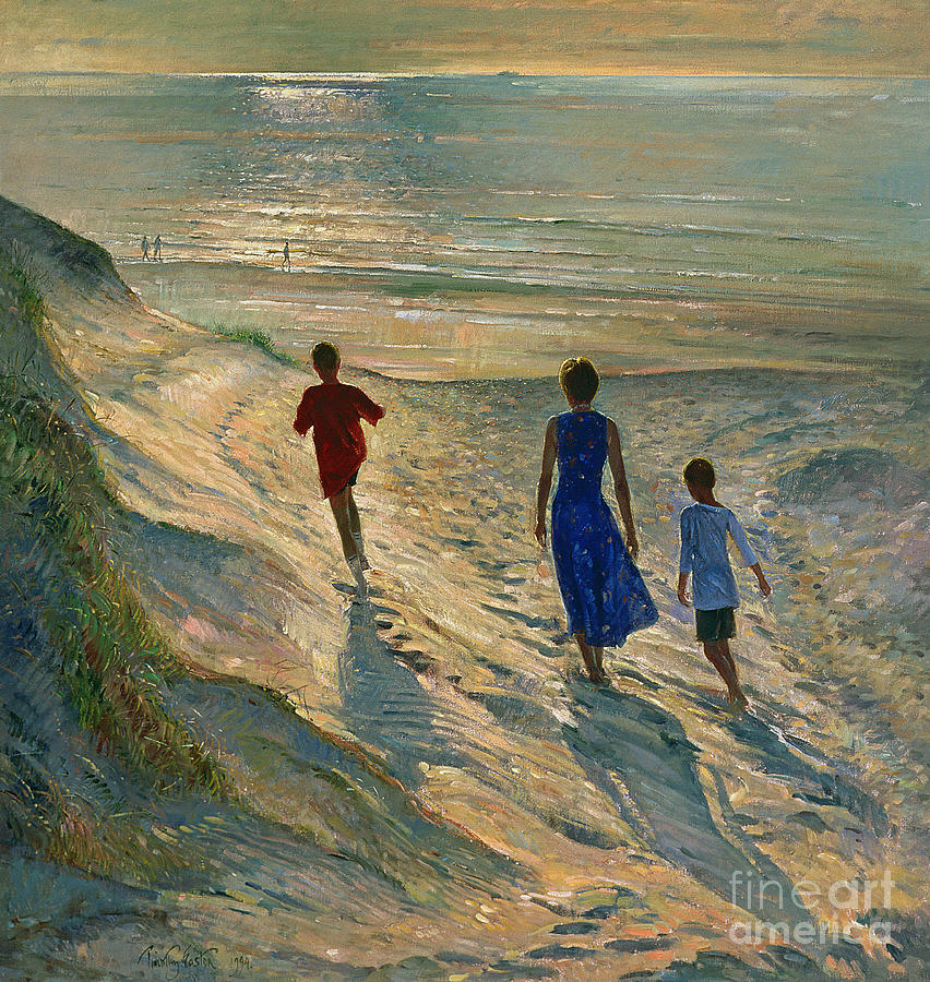 Sea; Sand; Coast; Coastal; Dune; Dunes; Walking; Mother; Sons; Son; Children; Family; Silhouette; Sunset; Sunlight; Nocturne; Reflection; Water; Calm; Footprints; Walking; Stroll; Beach Painting - Beach Walk by Timothy Easton