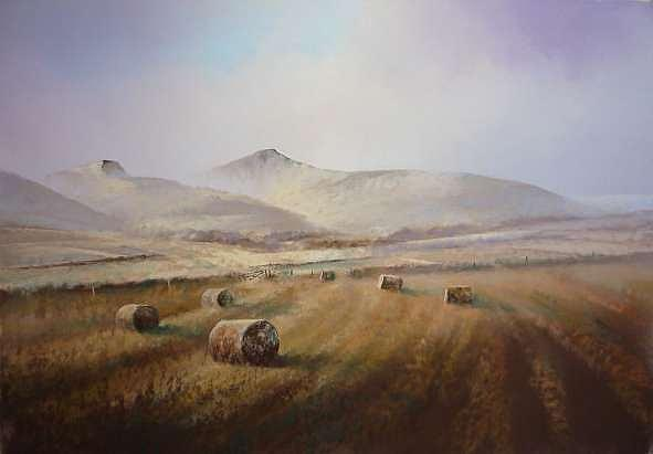 Haybales Painting - Beacons And Bales by Mark Whittaker