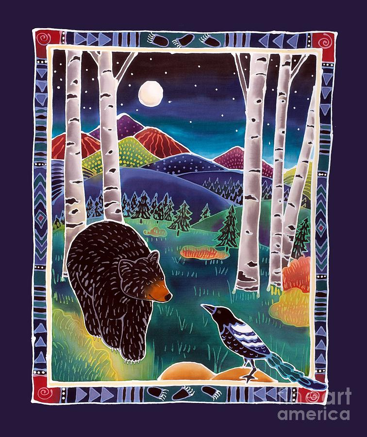 Bear Painting - Bear Greets Magpie by Harriet Peck Taylor