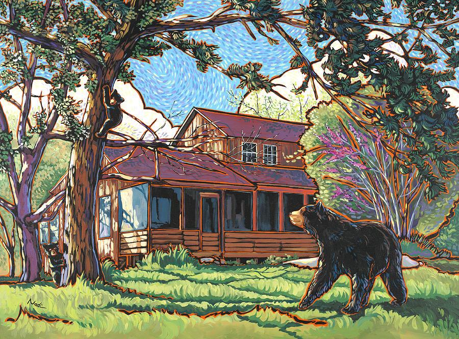 Bear Painting - Bears At Barton Cabin by Nadi Spencer