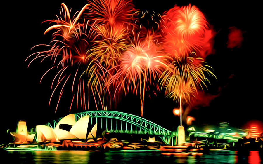Beautiful Colorful Holiday Fireworks 2 Painting