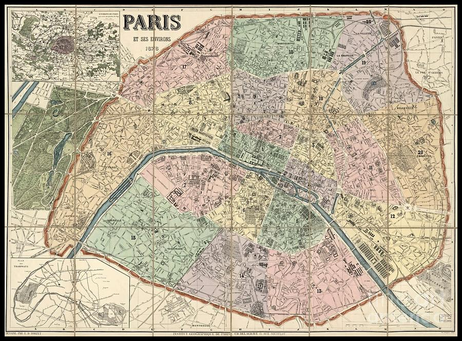 Beautiful Map Wall Decor Of Paris Photograph By Pd