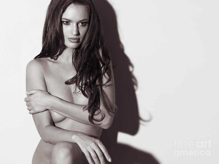 Beautiful Naked Woman Standing At A Wall Photograph