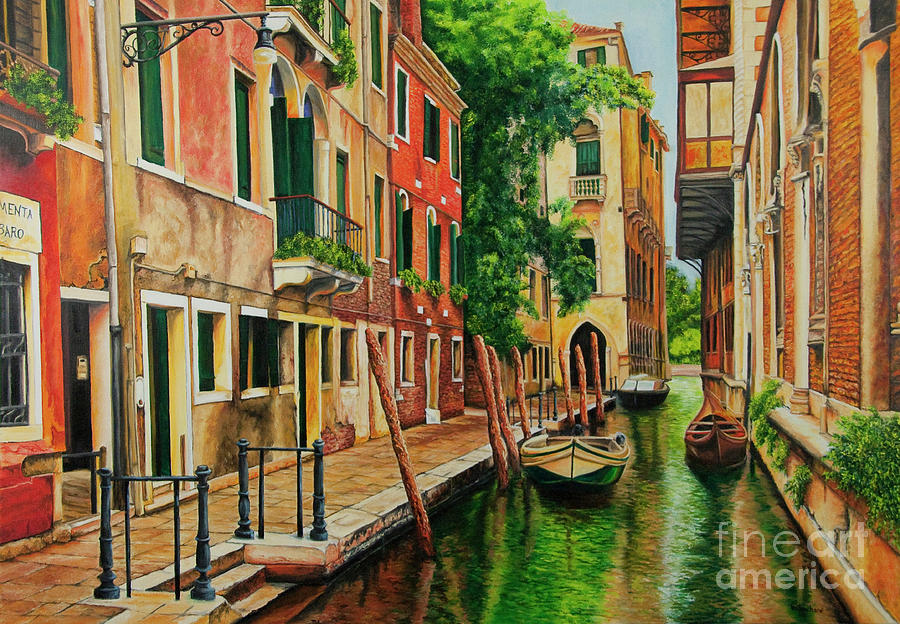 Venice Canal Painting - Beautiful Side Canal In Venice by Charlotte Blanchard