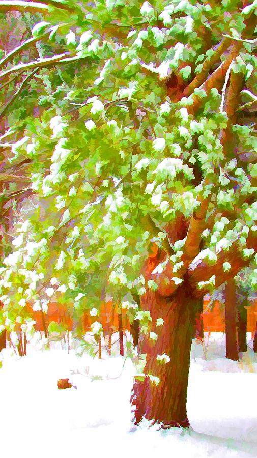 Background Painting - Beautiful Winter Tree by Lanjee Chee
