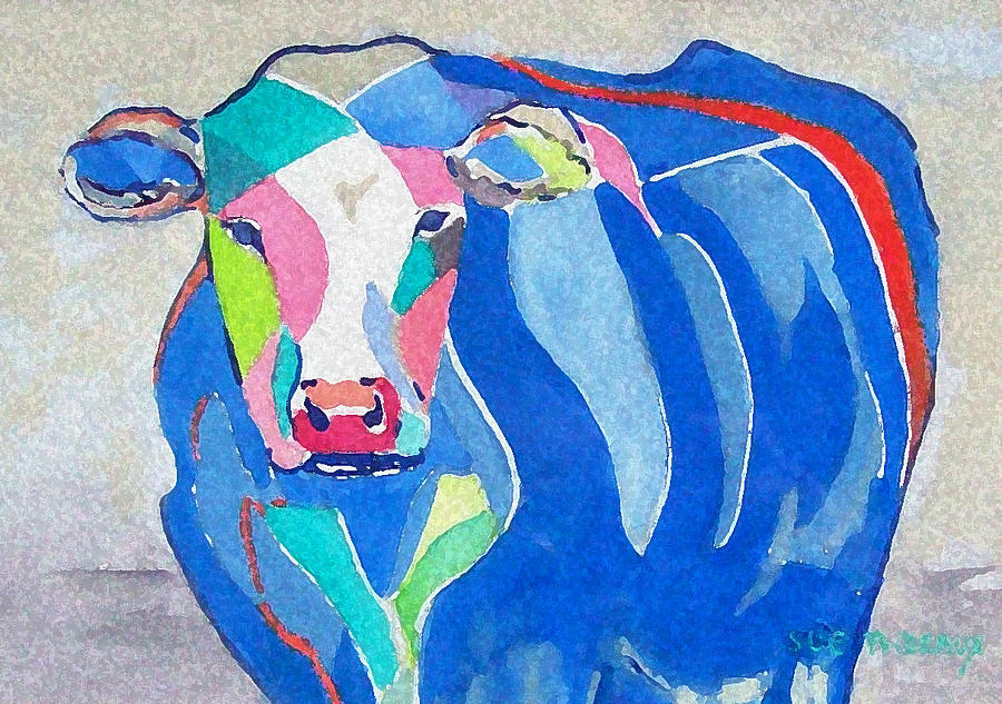 Cow Painting - Ben Jerrys Cow Fantasy by Sue Prideaux