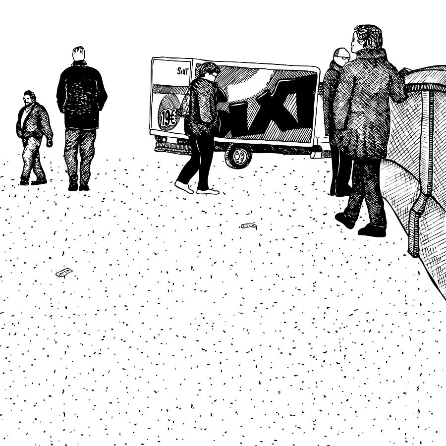 Berlin Streets Drawing