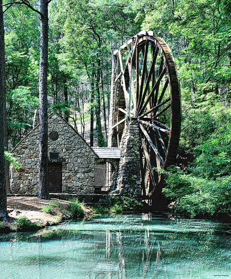 Historic Photograph - Berry Old Mill In Pencil by Johann Todesengel