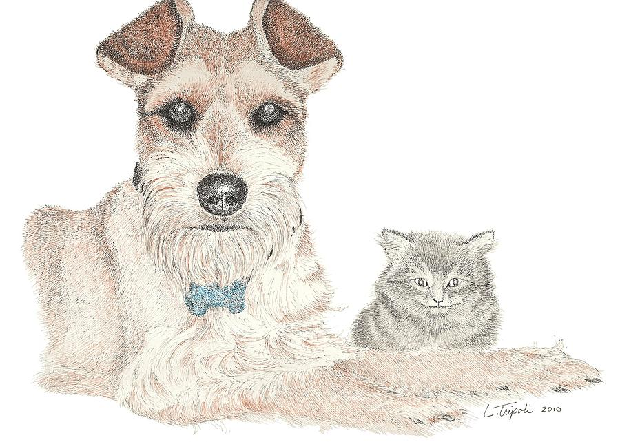 Pet Drawing - Best Buddies by Lawrence Tripoli