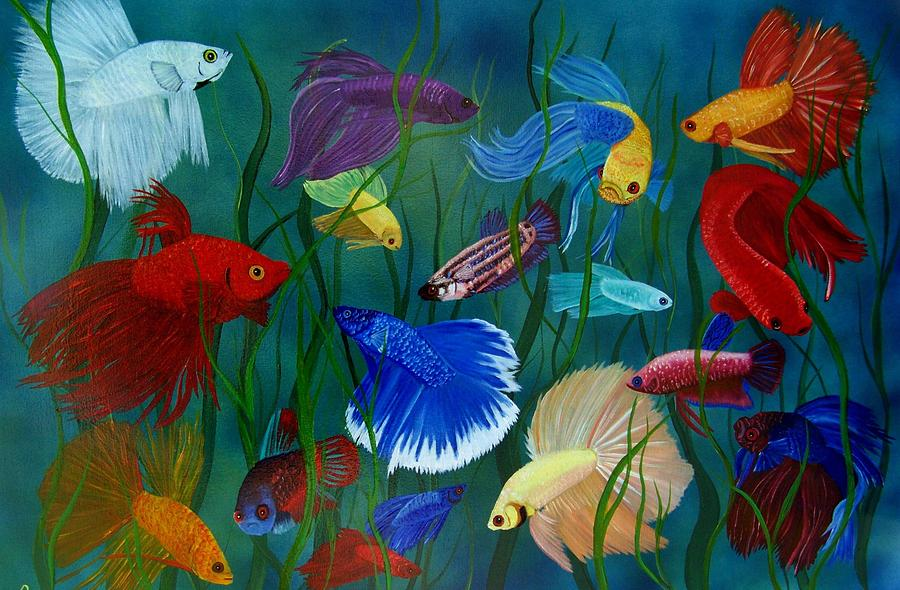 Bettas in motion painting by debbie lafrance for Betta fish painting