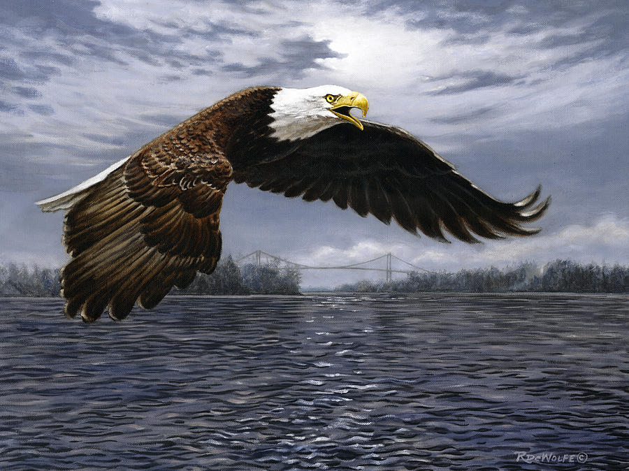 Bald Eagle Painting - Between Nations by Richard De Wolfe