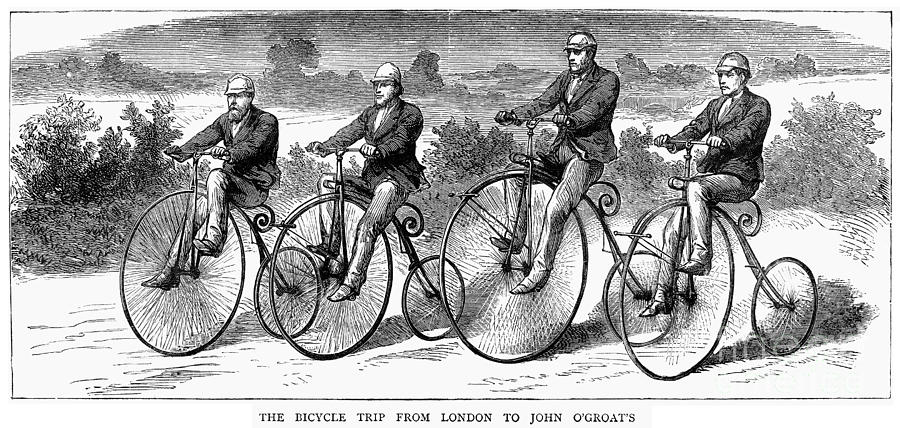 1873 Photograph - Bicycling, 1873 by Granger