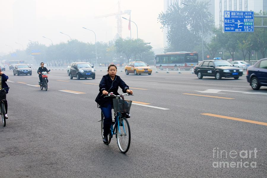 Bicycle Photograph - Bicyclist In Beijing by Thomas Marchessault