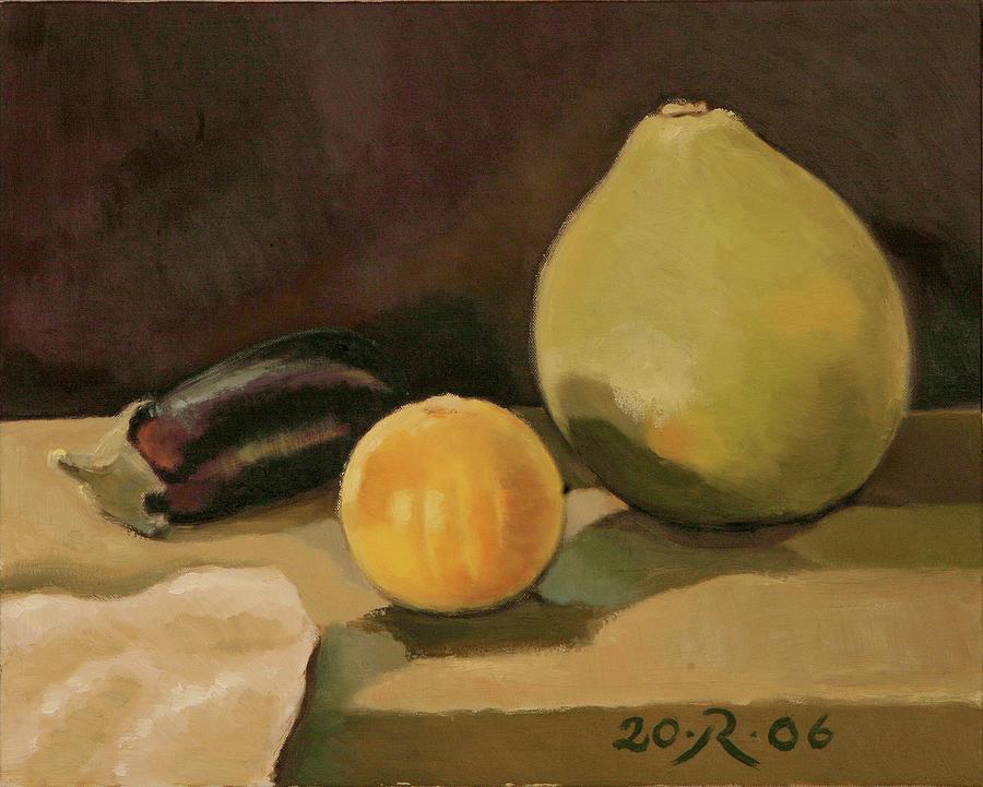 Still-life Cucurbit Aubergine Grapefruit  Painting - Big Grapefruit by Raimonda Jatkeviciute-Kasparaviciene
