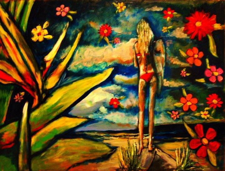 Surfer Girl Painting - Big Island Surf by Kimberly Dawn Clayton