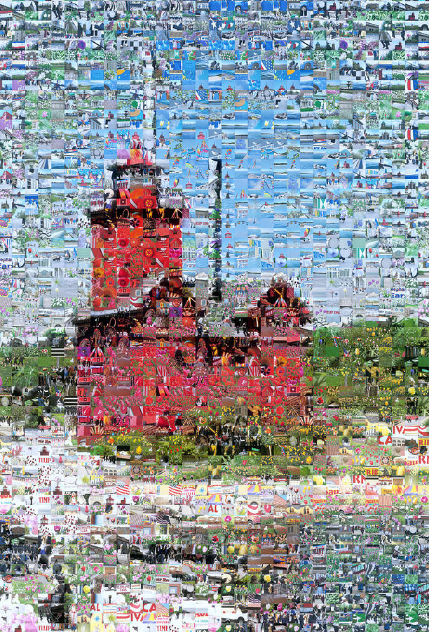 Lighthouse Photograph - Big Red Photomosaic by Michelle Calkins