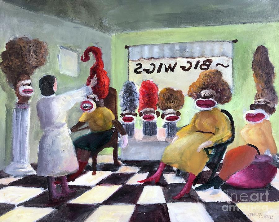 Sock Monkeys Painting - Big Wigs And False Teeth by Randy Burns