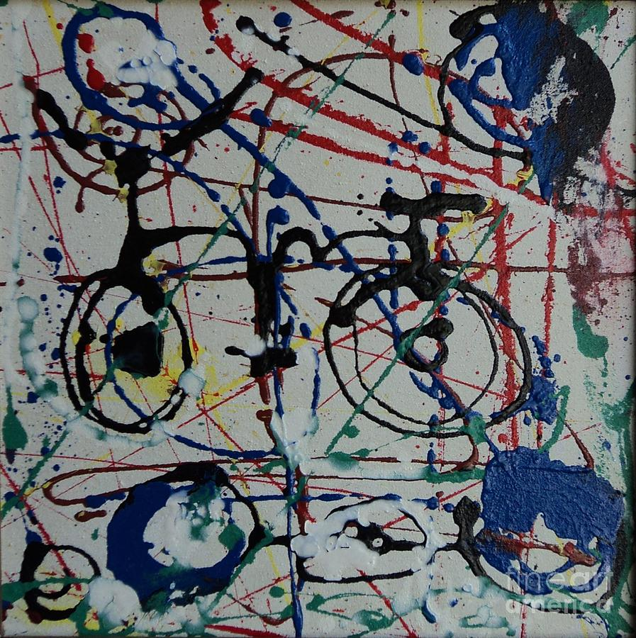 Bike abstract painting by danarta gondrong for Bicycle painting near me