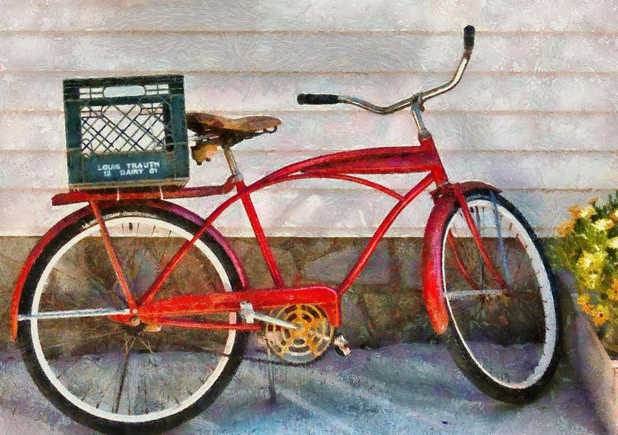 Suburbanscenes Photograph - Bike - Delivery Bike by Mike Savad