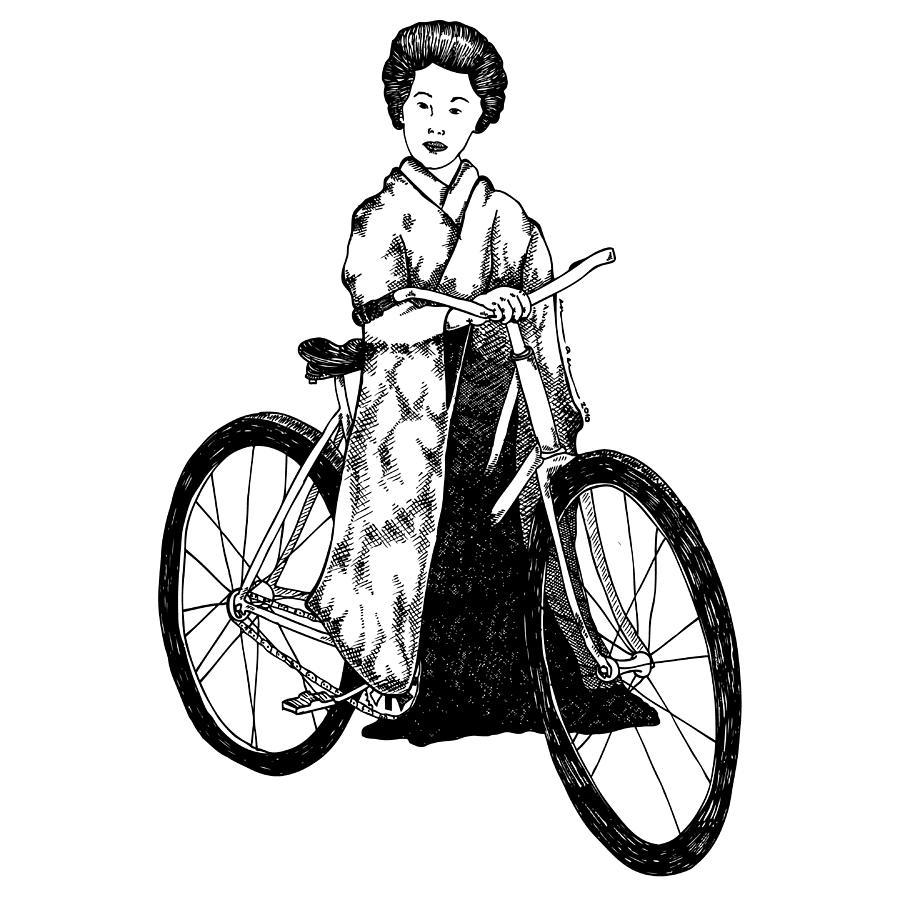 Drawing Drawing - Bike Geisha by Karl Addison
