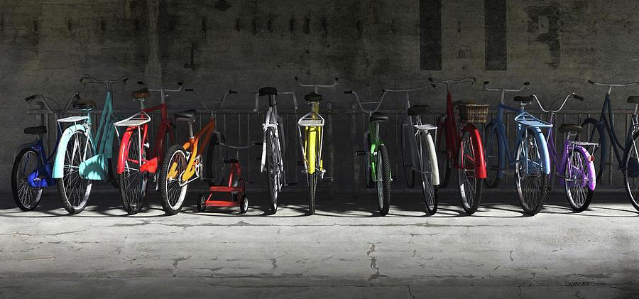 Bicycle Digital Art - Bike Rack by Cynthia Decker