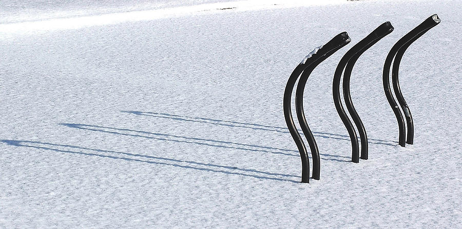 Bicycle Rack Photograph - Bike Racks In Snow by Steve Somerville