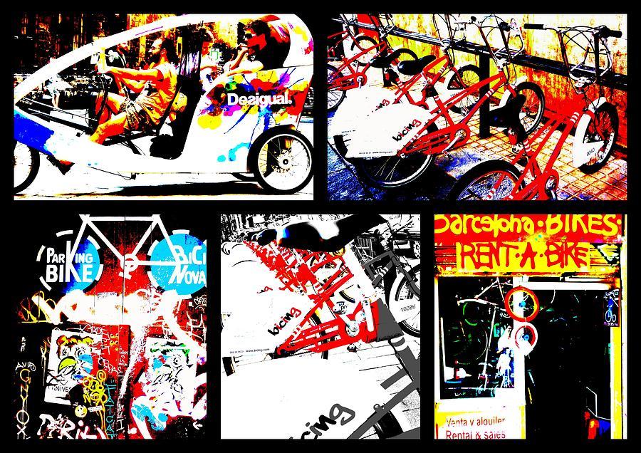 Bicycle Photograph - Biking In Barcelona by Funkpix Photo Hunter