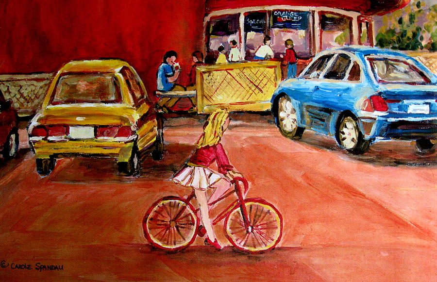 Orange Julep Painting - Biking To The Orange Julep by Carole Spandau