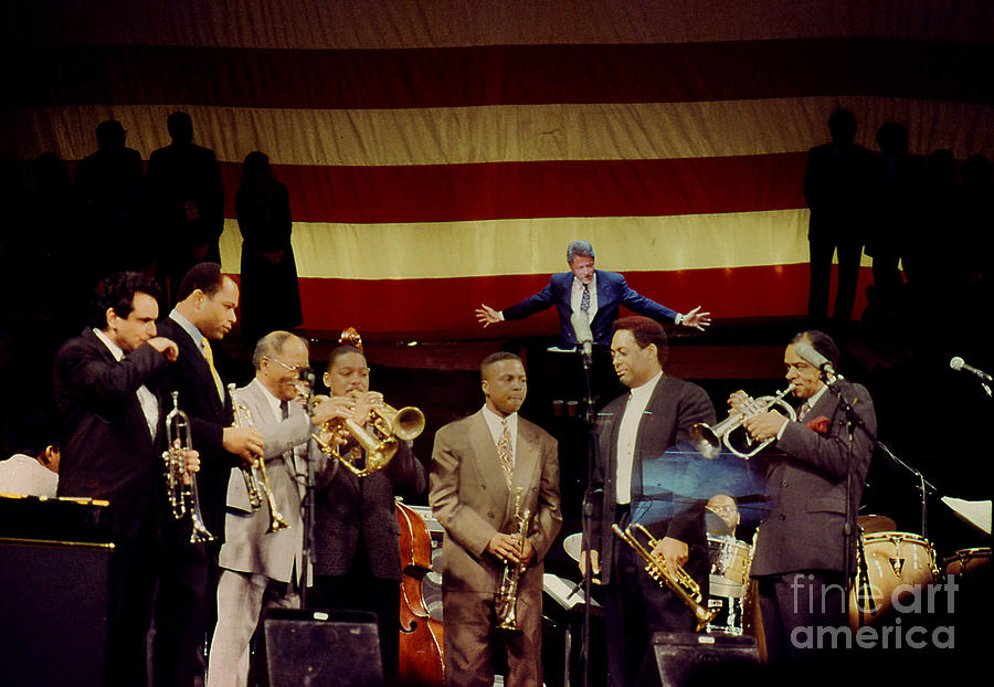 President Photograph - Bill Clinton And Trumpeters  by Enid Farber